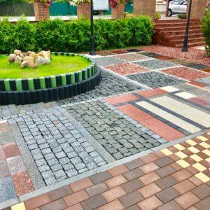 Устройство покрытия тротуарной плитки (с материалом)